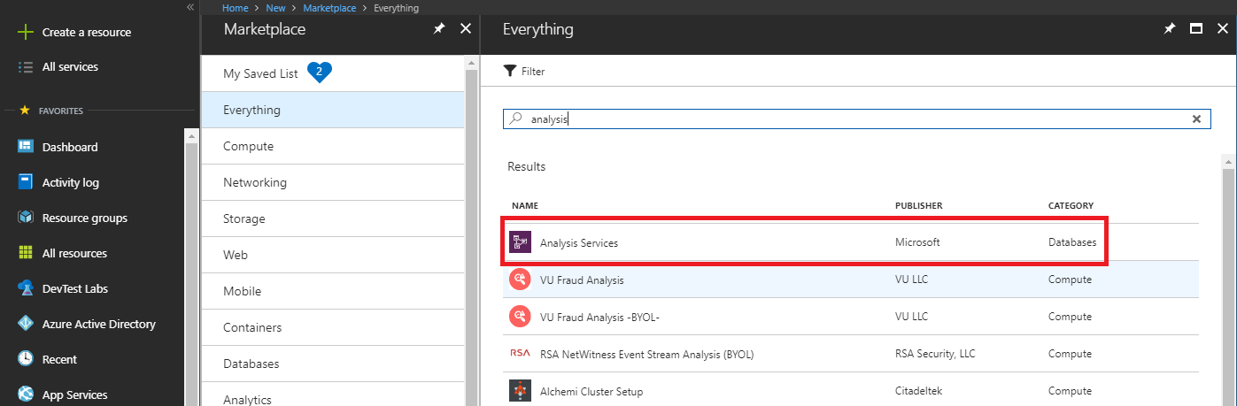 Create an Azure Analysis Services Account