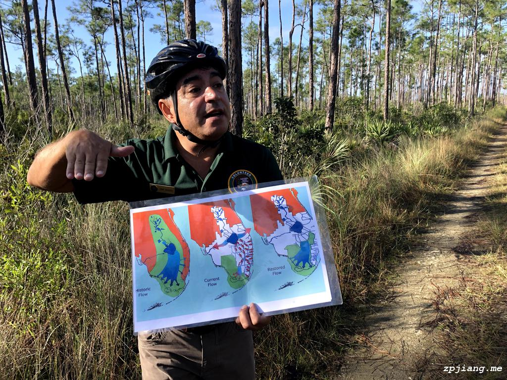 The ranger is telling the story of Everglades National Park.