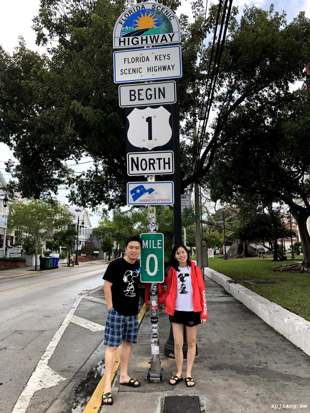 The mile 0 marker in Key West.