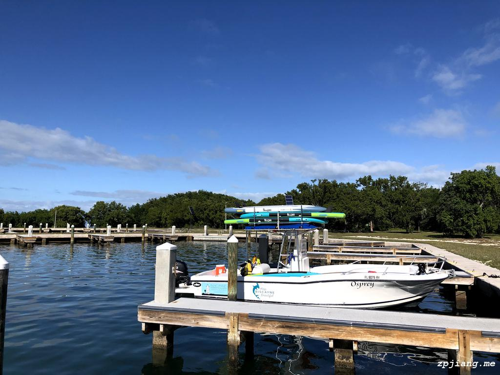Elliott Key Island in Biscayne National Park, with boats docked in the bay.