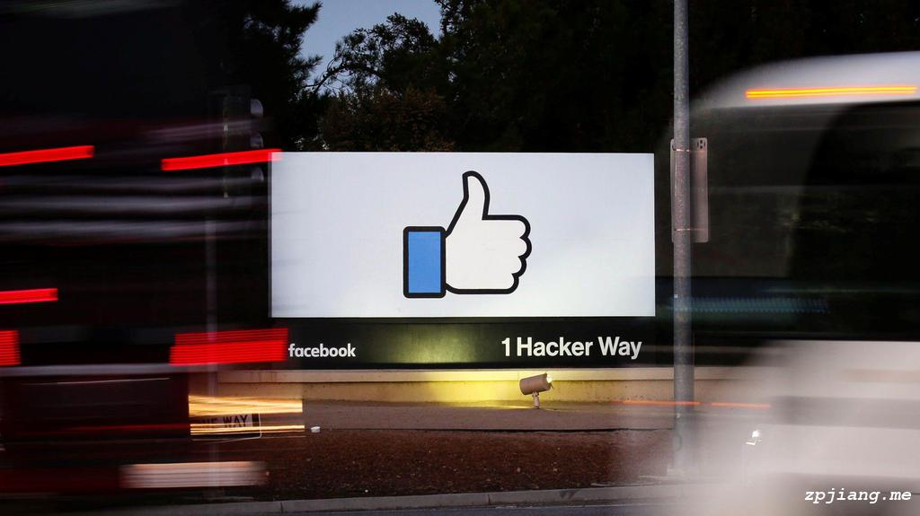 Facebook logo in front of its headquarter.
