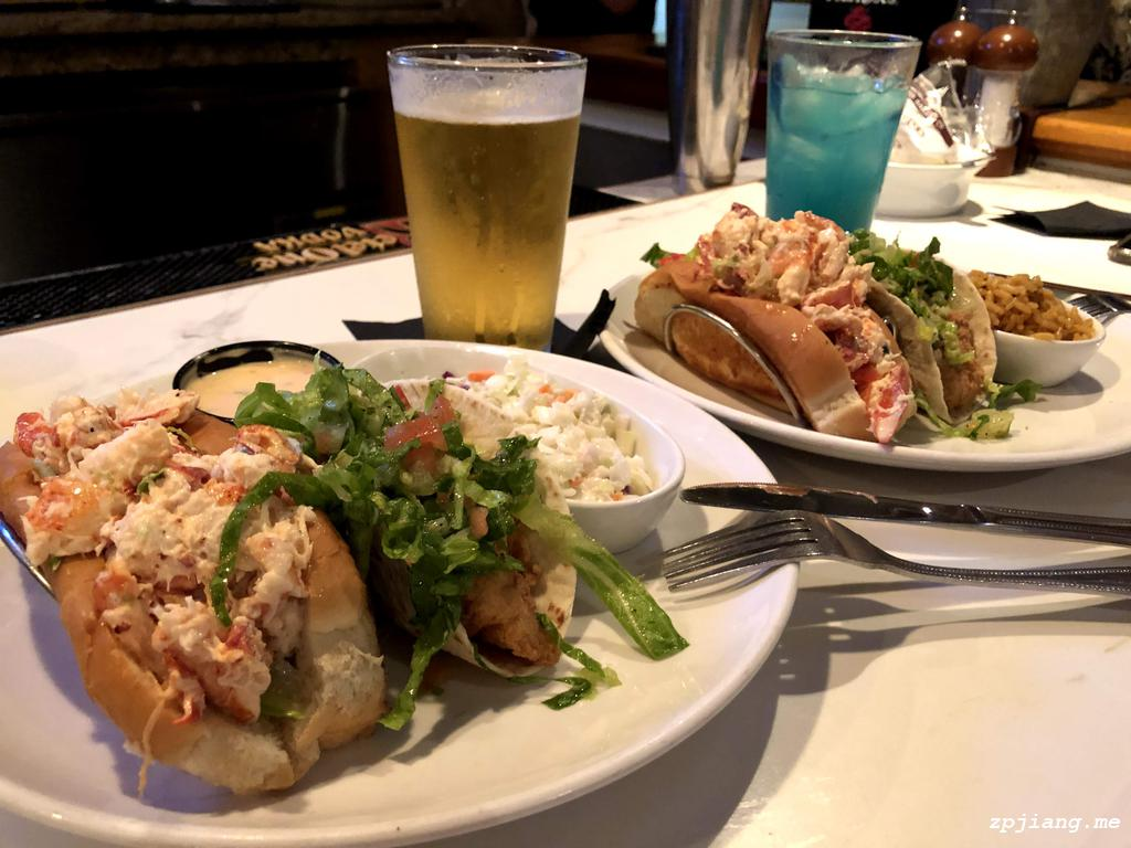 Lobster Roll & Grouper Tacos in Dry Dock Waterfront Grill.