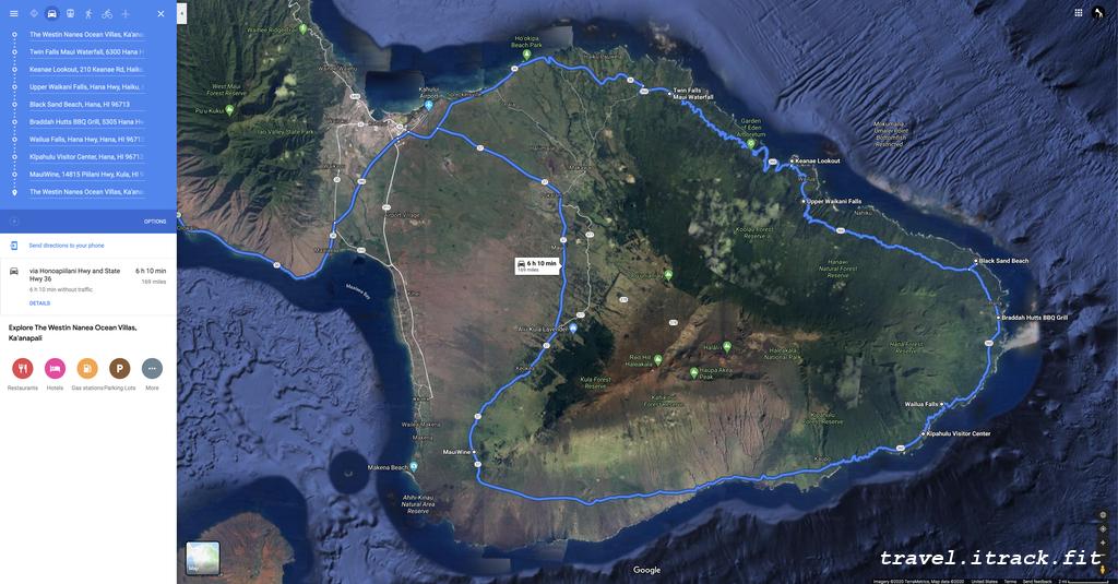 Road trip itinerary to Hana.