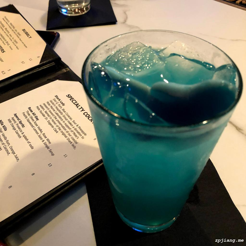 Shark Lady, the specialty cocktail in Dry Dock Waterfront Grill.