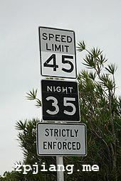 Speed limit sign on the highway from Miami to Key West.