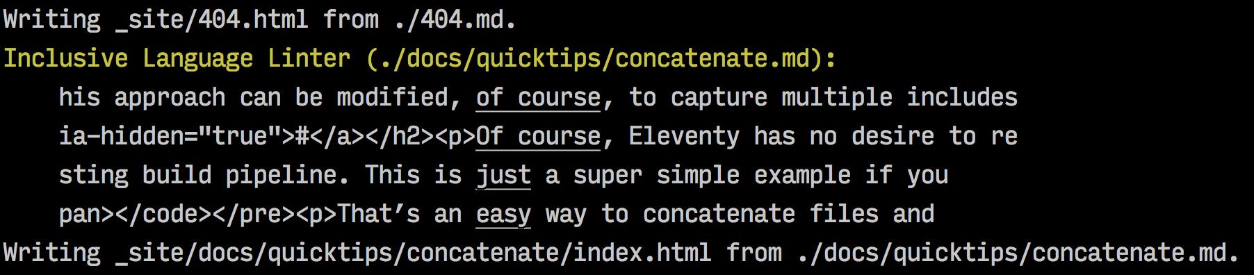 Sample screenshot of eleventy-plugin-inclusive-language in action