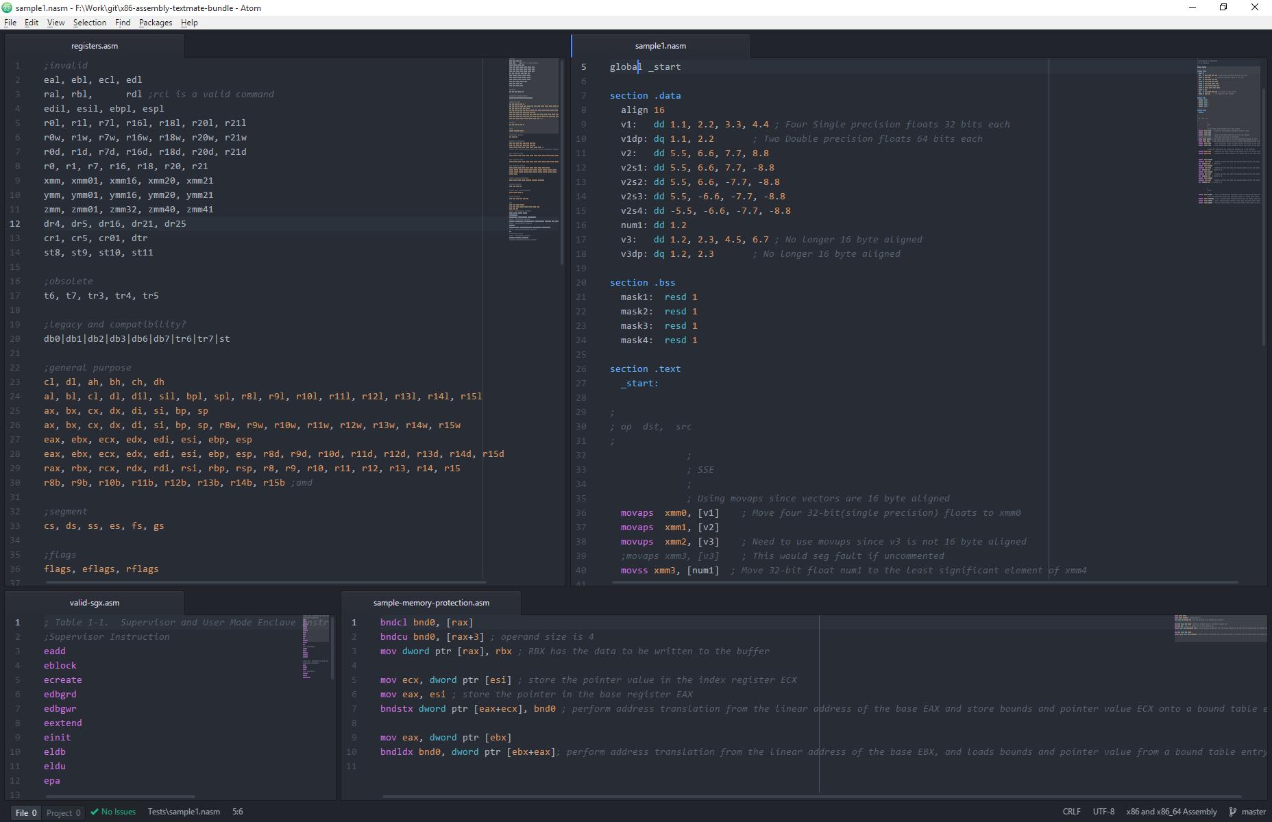 Atom with One Dark syntax theme