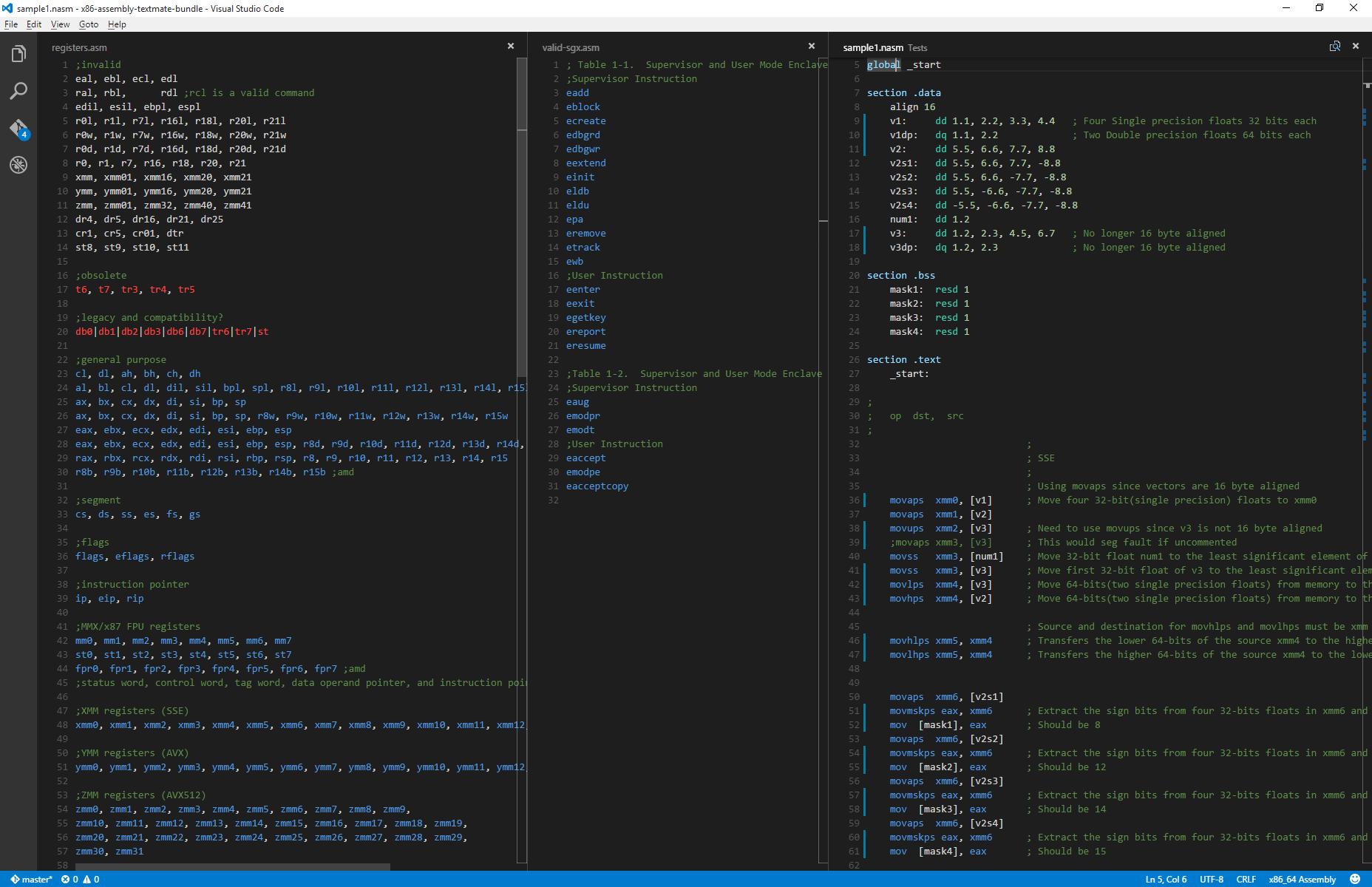 Visual Studio Code with default Dark color theme