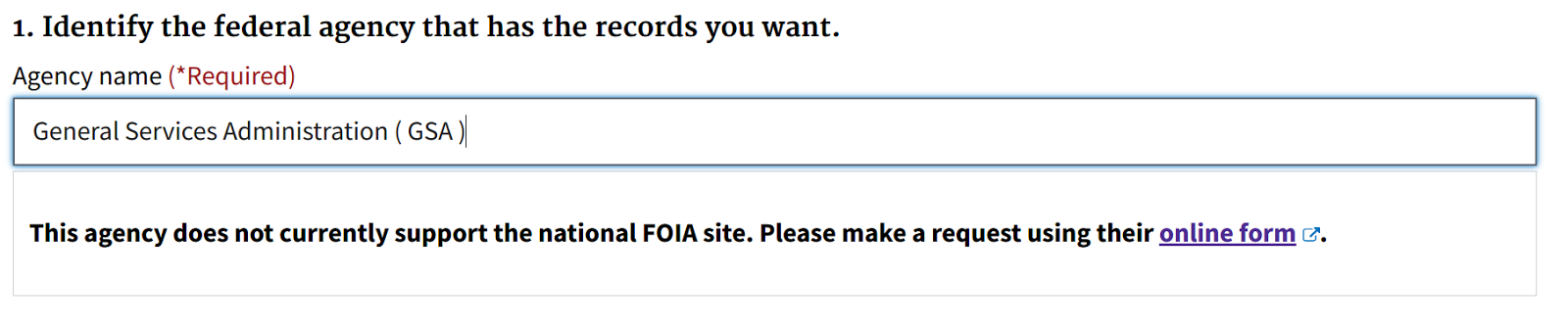 Screenshot of the prototype testing a direct link for submission to an agency with their own web form for request submission