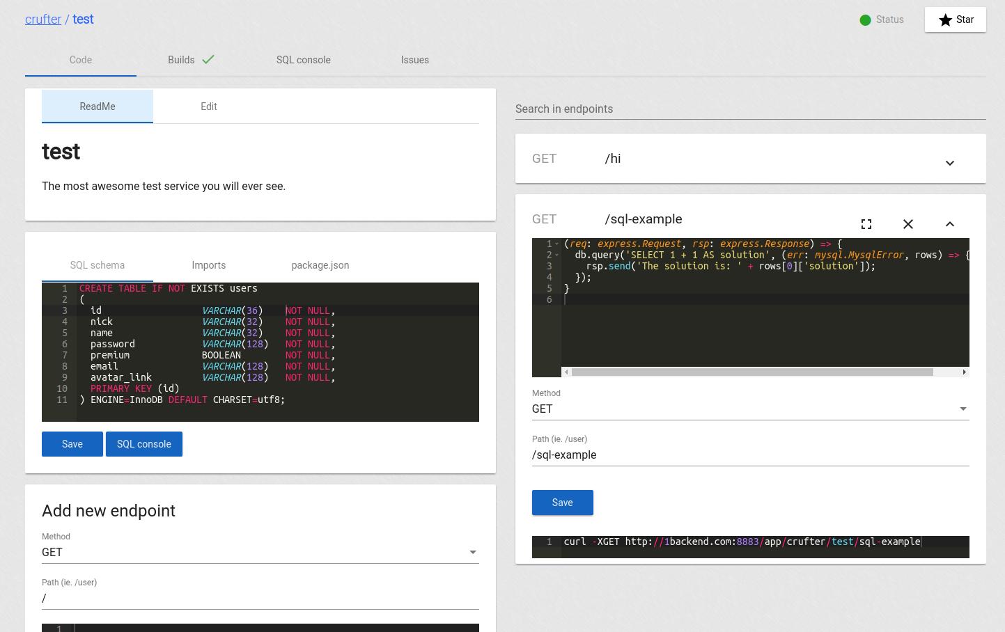 1backend service screenshot