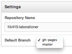 Sätt gh-pages som default branch, GitHub