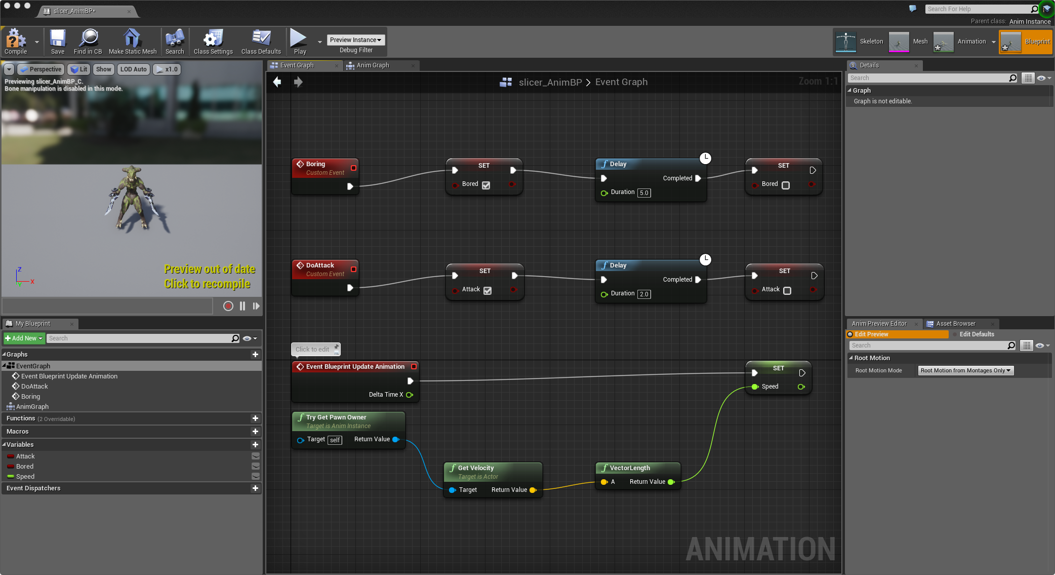 The Kaiju Animation Blueprint Event Graph