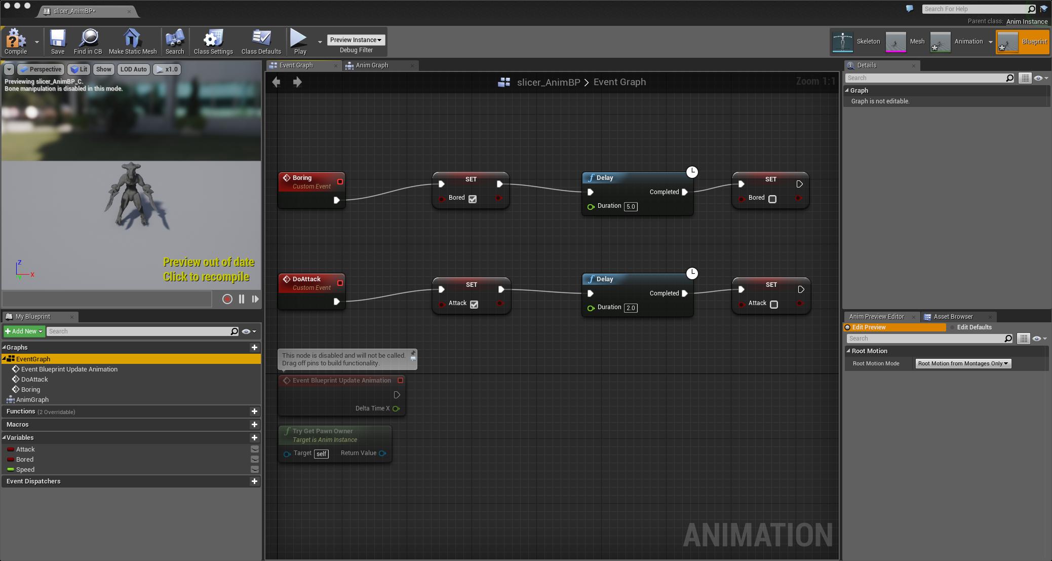 The Kaiju Animation Blueprint with Nodes