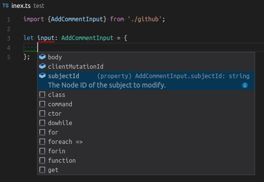 Autocomplete Inputs on Typescript