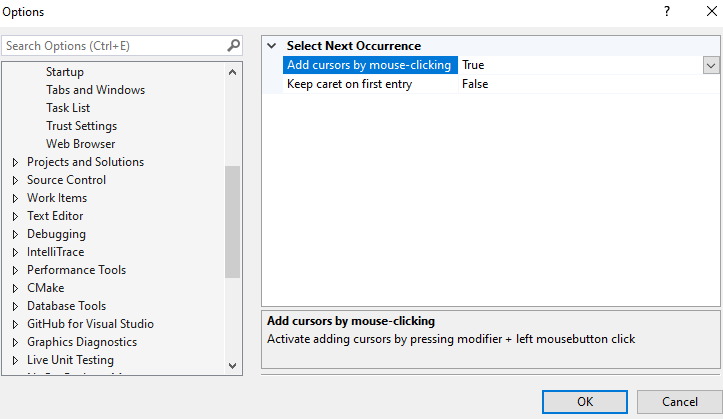 Select Next Occurrence Options dialog