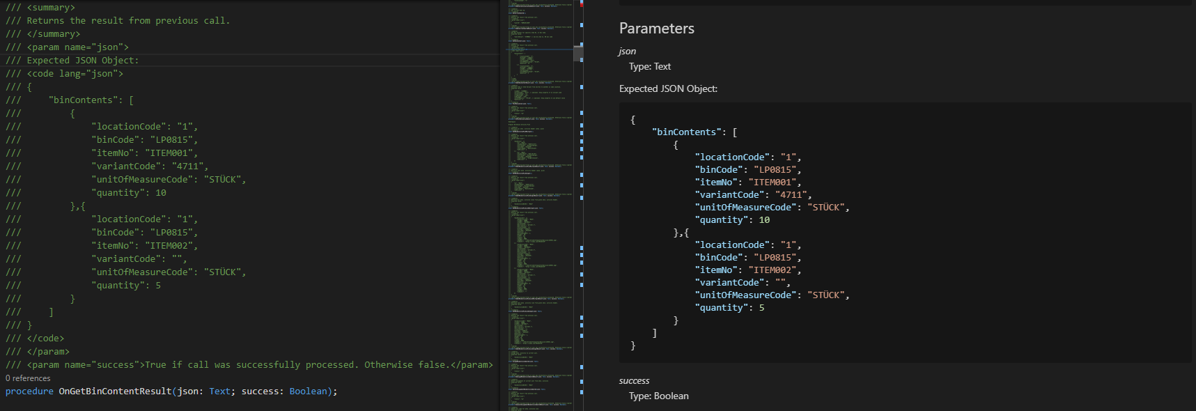 Use code-tag in Summary or Parameter description to explain usage