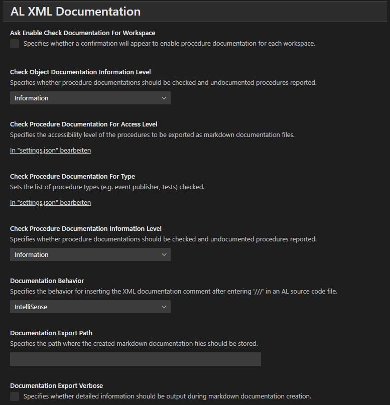 AL XML Documentation Setup