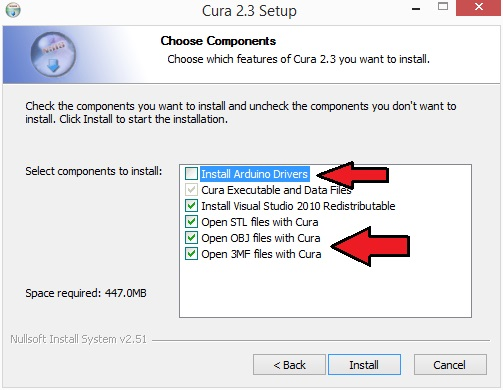 Installation cura 2