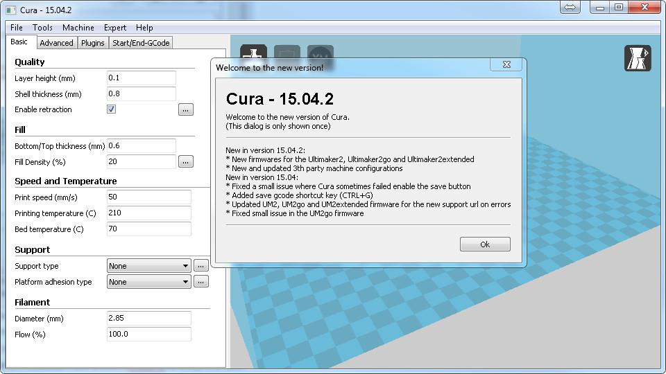 Premier lancement de Cura
