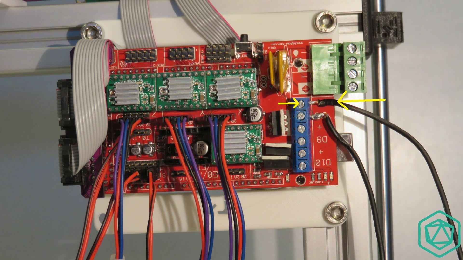 Raccordement du relais statique sur la carte ramps