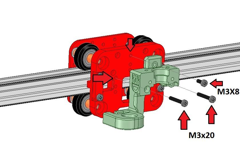 Installation de la tête chauffante E3Dv6 sur le charriot de l'axe X