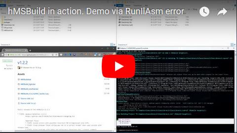 {Screencast - hMSBuild in action. Demo via RunIlAsm error}