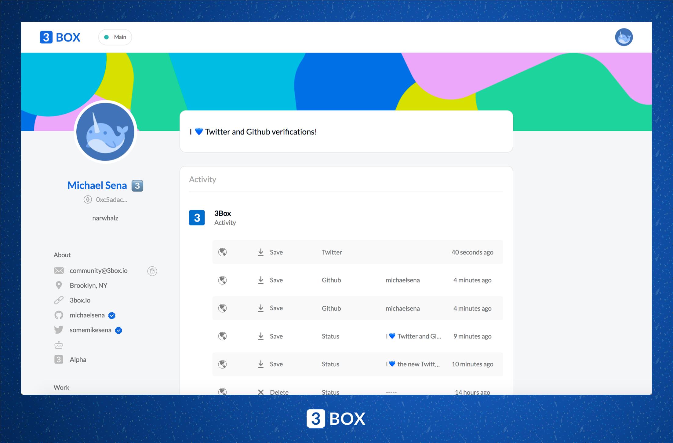 3Box Profiles App Hero Image