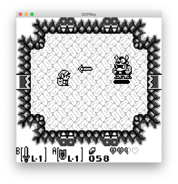 A screenshot of OOPBoy playing The Legend of Zelda: Link's Awakening