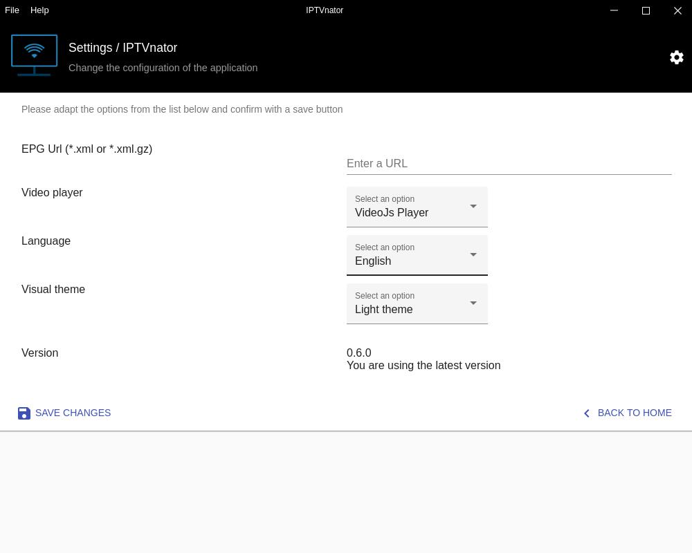 General app settings