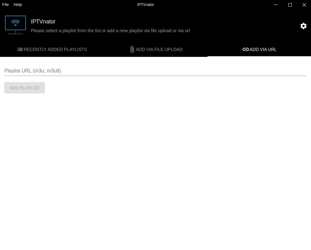 Welcome screen: Add playlist via URL