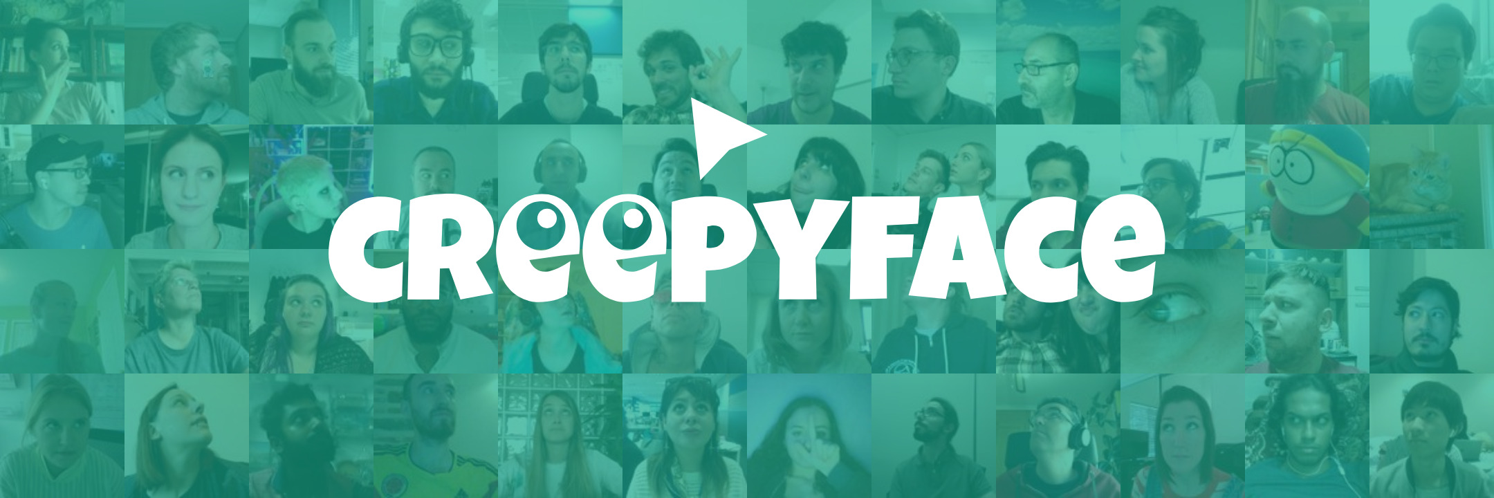 The Creepyface logo with a background full of faces looking at the pointer