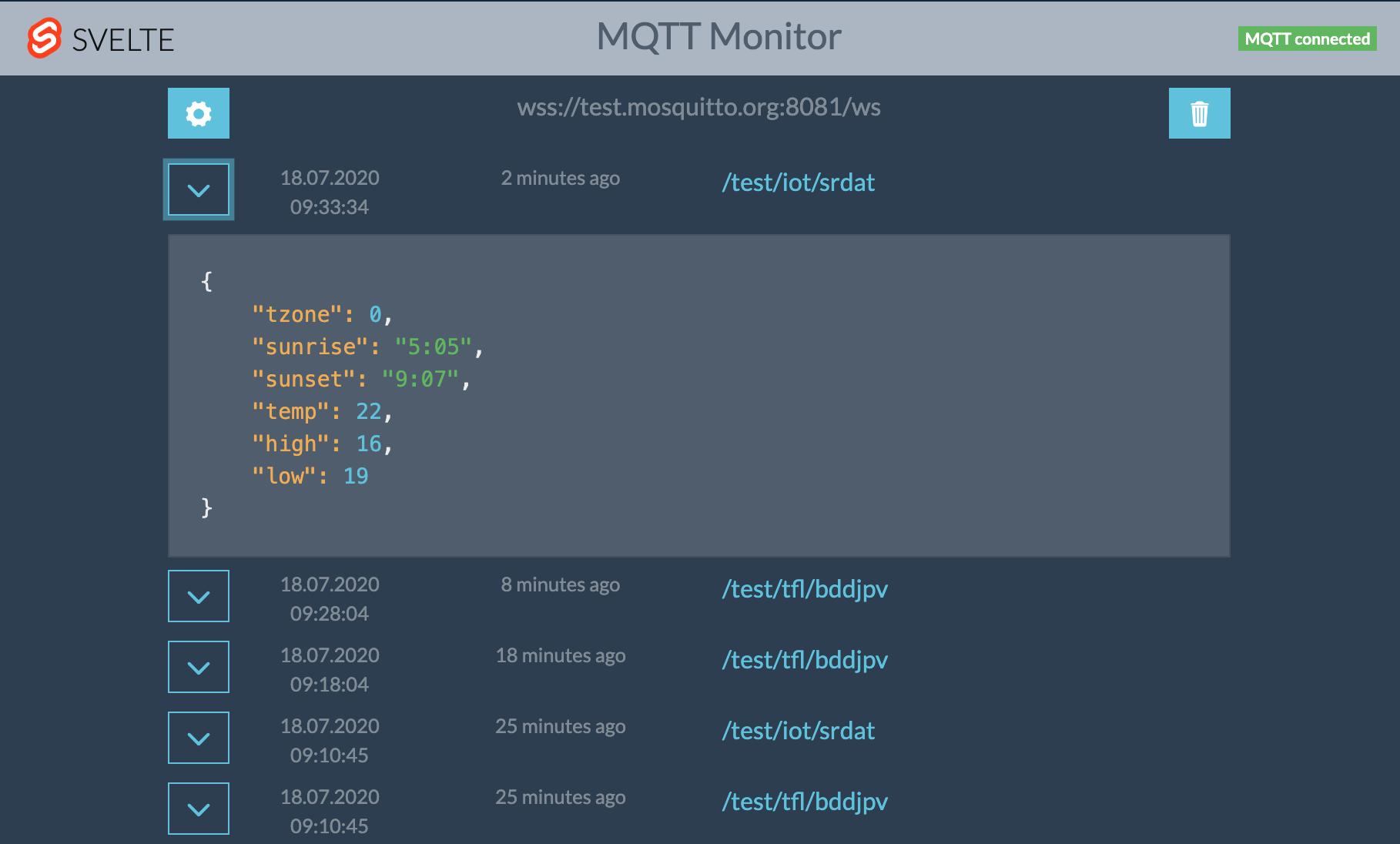 Screenshot of Svelte MQTT Monitor