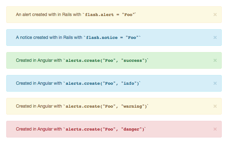 Different alert types