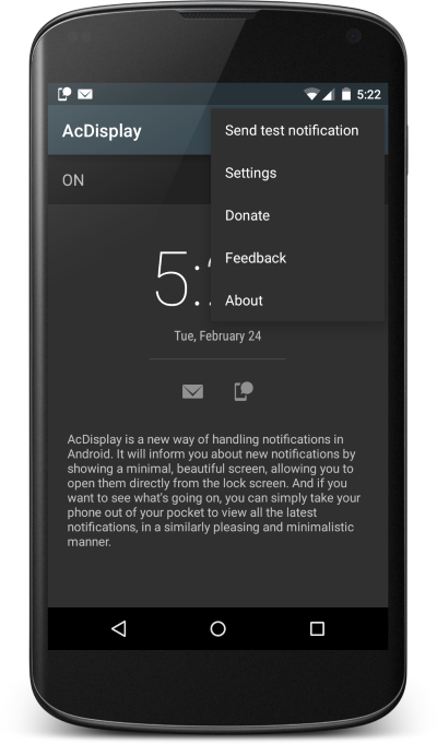 Main screen: handling notification