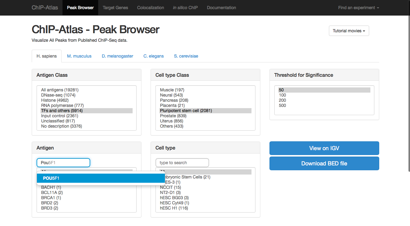 ChIP-Atlas Peak Browser