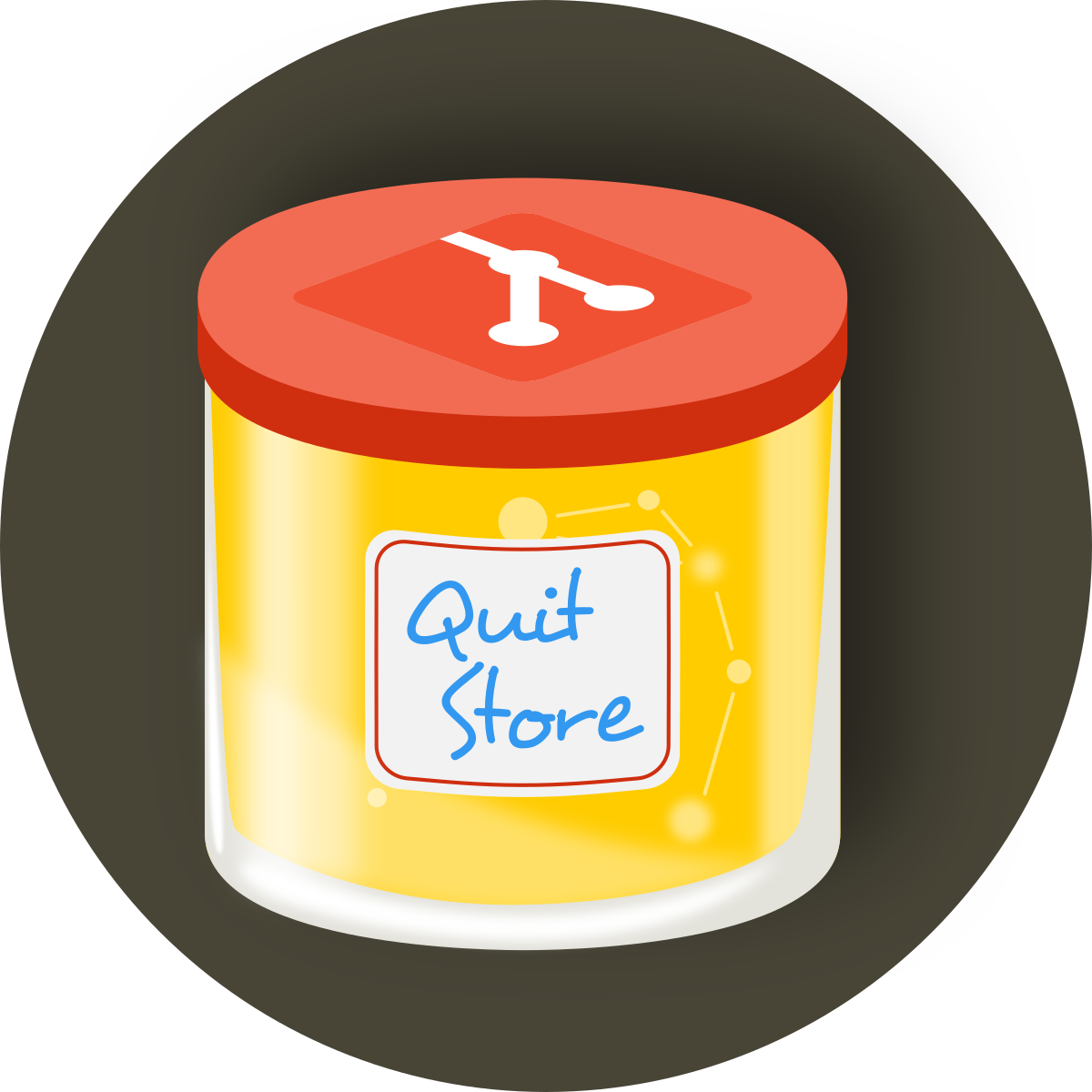 The QuitStore Logo: A glass of quinch jam (German: Quittenmarmelade) with the Git logo on the lid. 'Graph jam in a git glass'