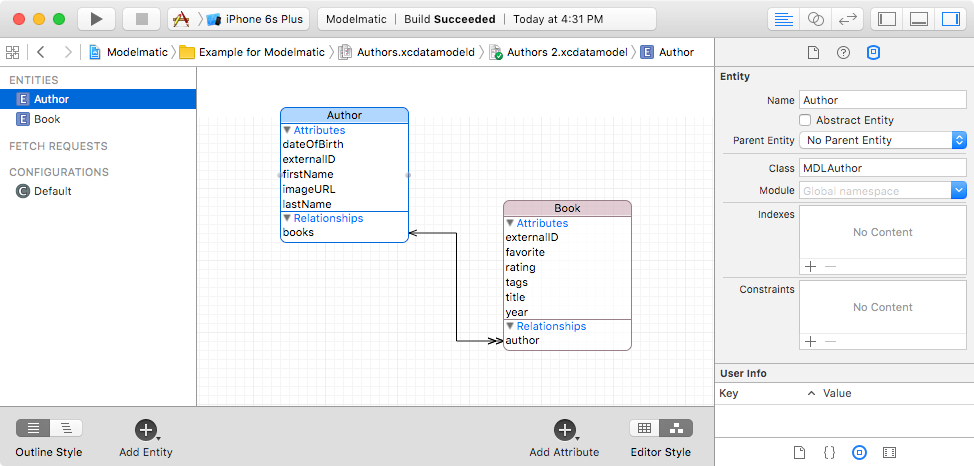 Core Data Model Editor graphical view