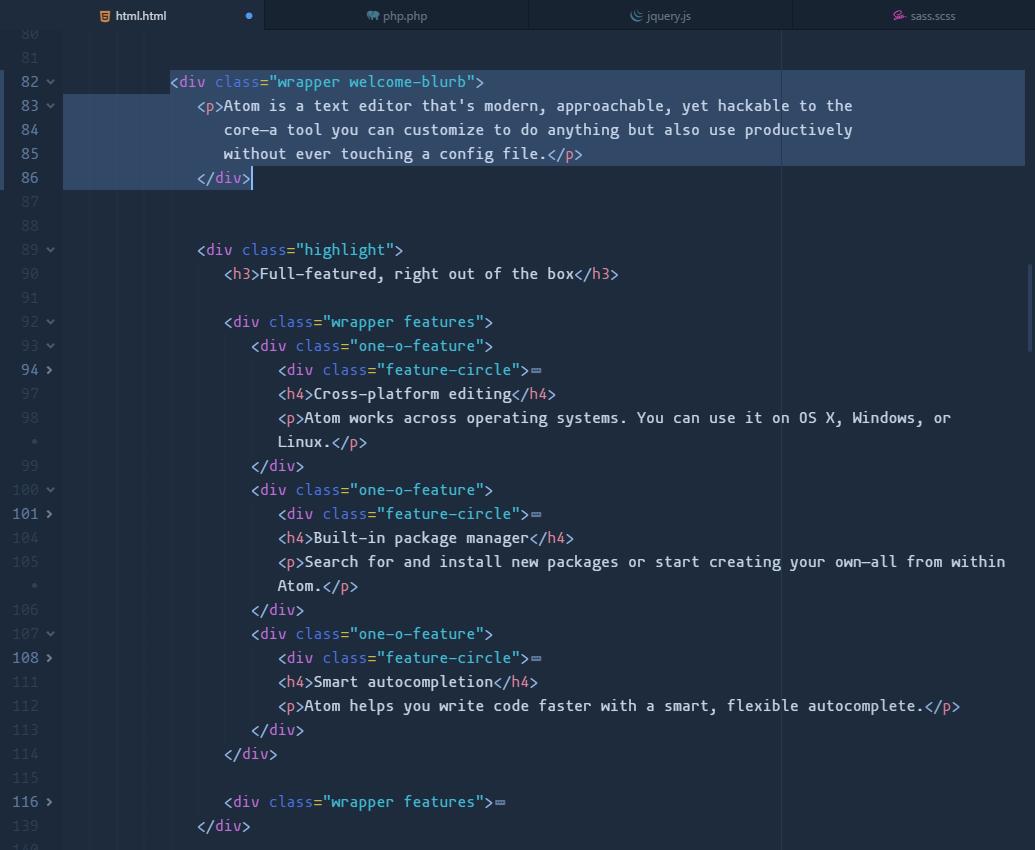 quietude-syntax html