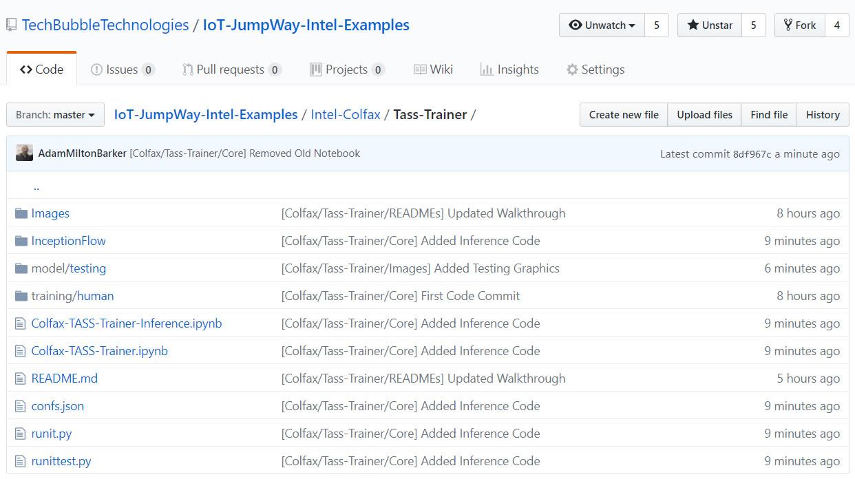 IoT JumpWay Intel® AI DevCloud / Colfax Examples