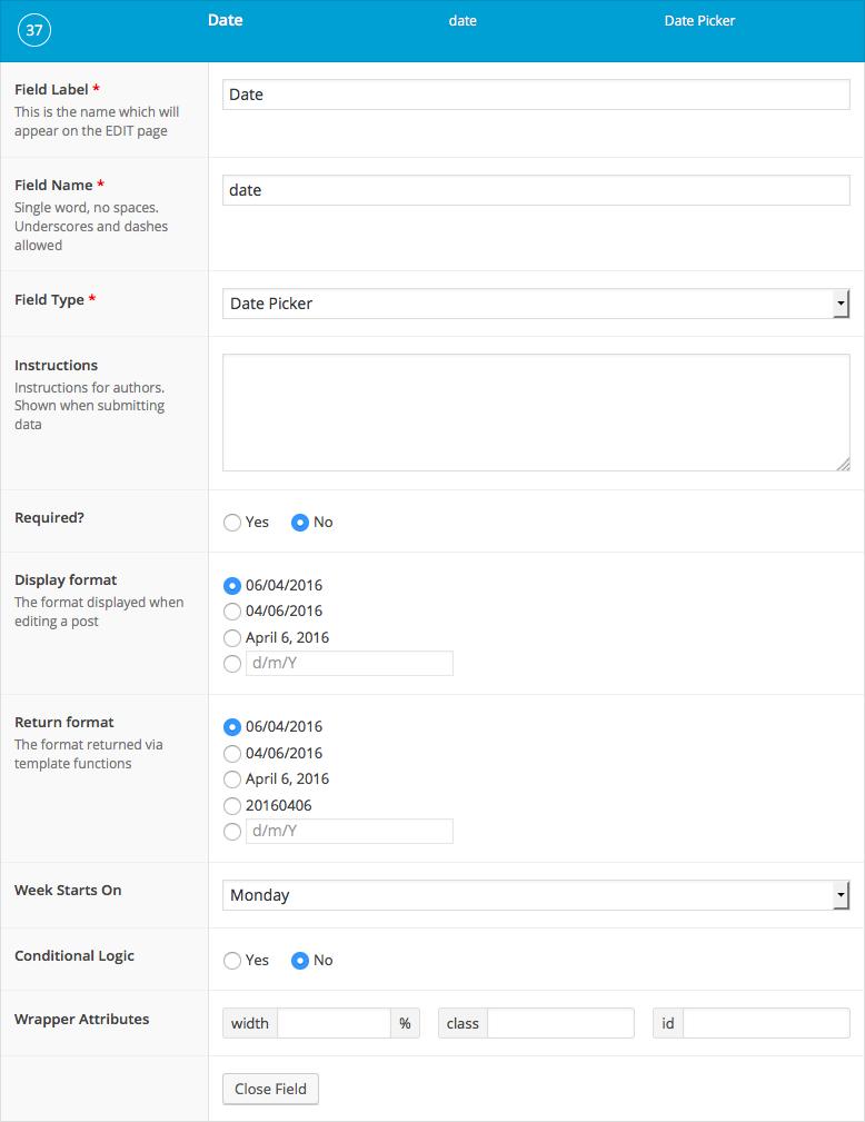 List of field settings shown when setting up a date picker field