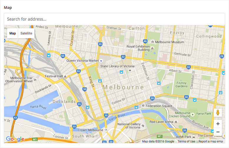a Google Map field displaying a sample map