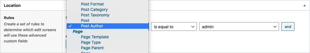 Screenshot of selecting the Post Author location rule type
