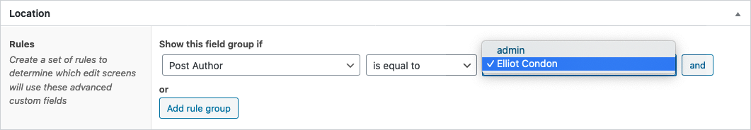 Screenshot of selecting the Post Author location rule value