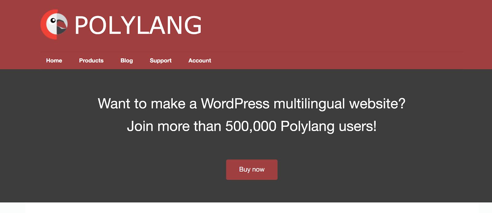Screenshot of Polylang website