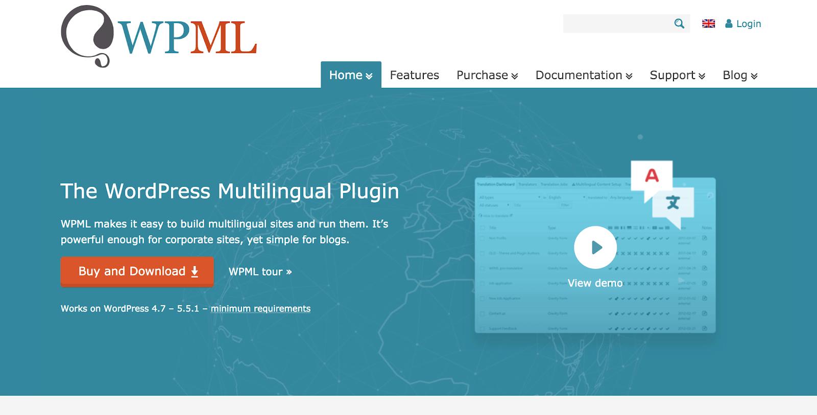 Screenshot of WPML website