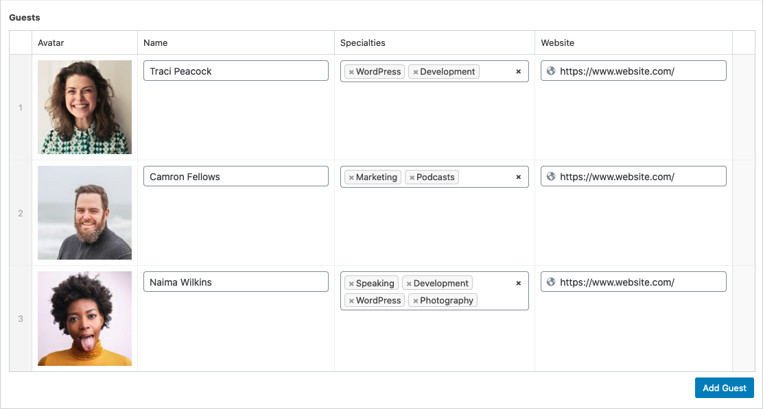 A table-like layout displaying 3 rows of data each containing Image, Name, Specialities and Website fields.