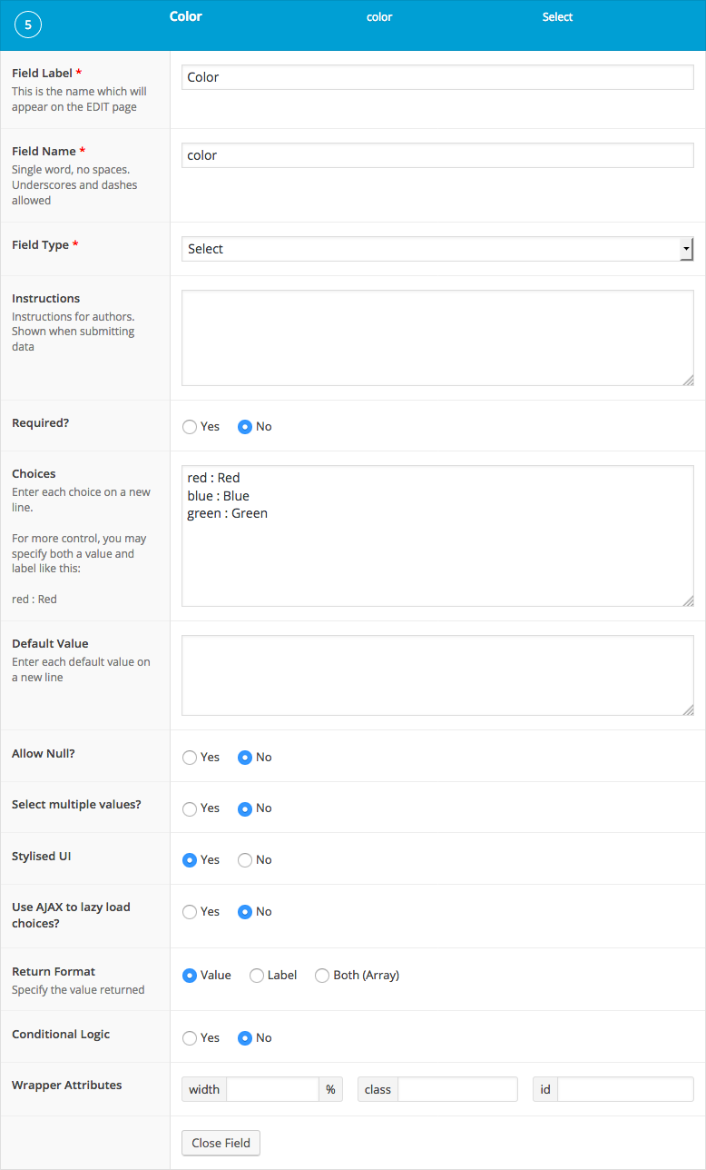 List of settings shown when creating a Select field