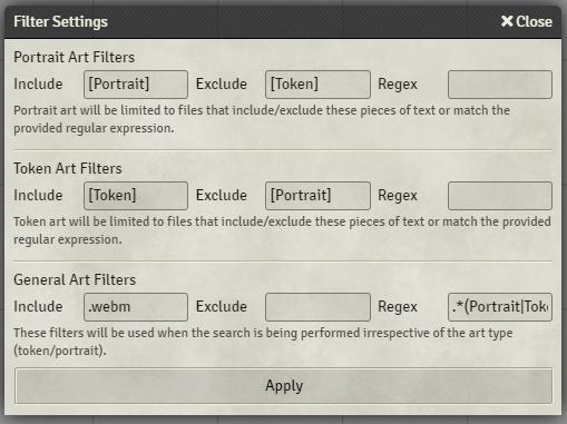 """Filter Settings"""