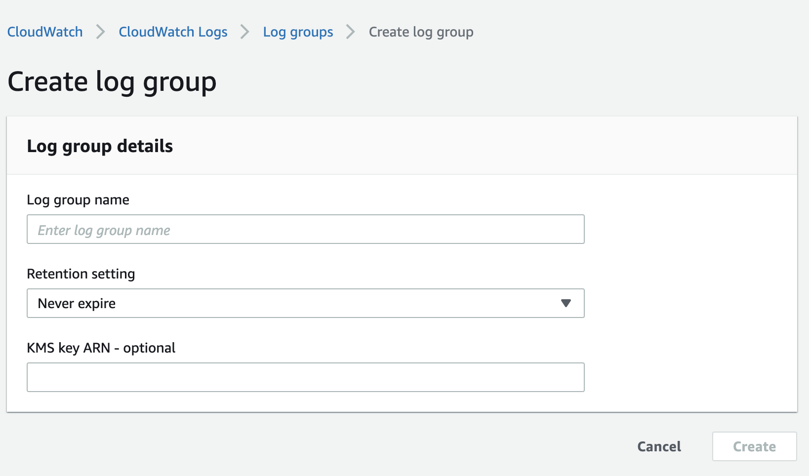 create log group in CloudWatch