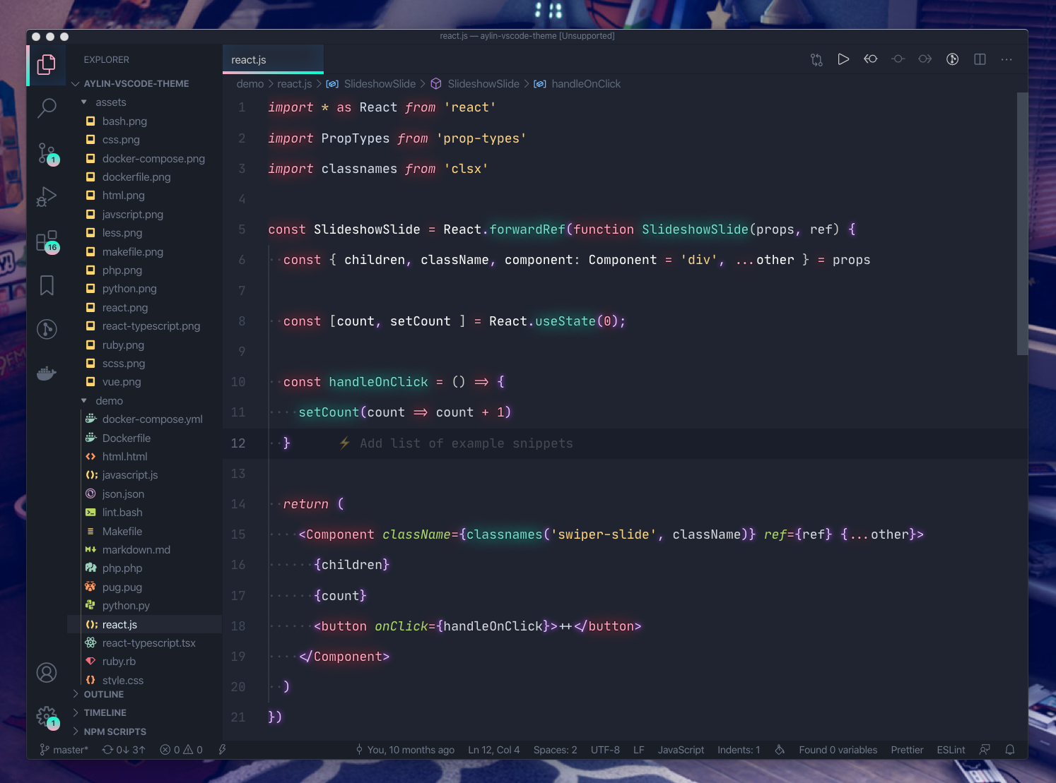 React (with Glow)
